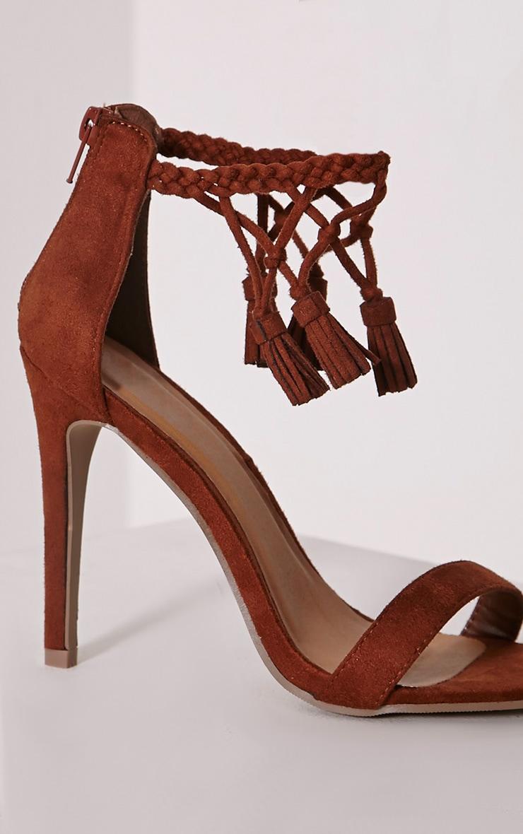 Dulce Mocha Tassel Tie Heeled Sandals 6
