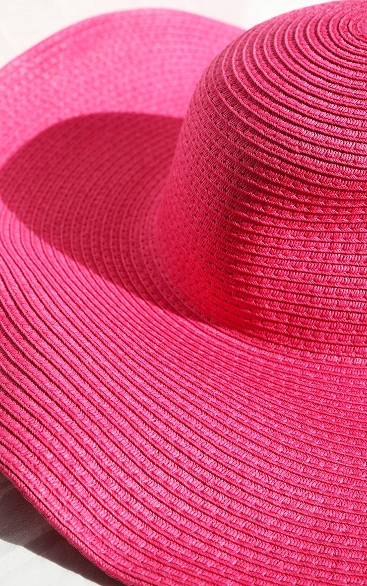 Pink Wide Brim Floppy Hat 4