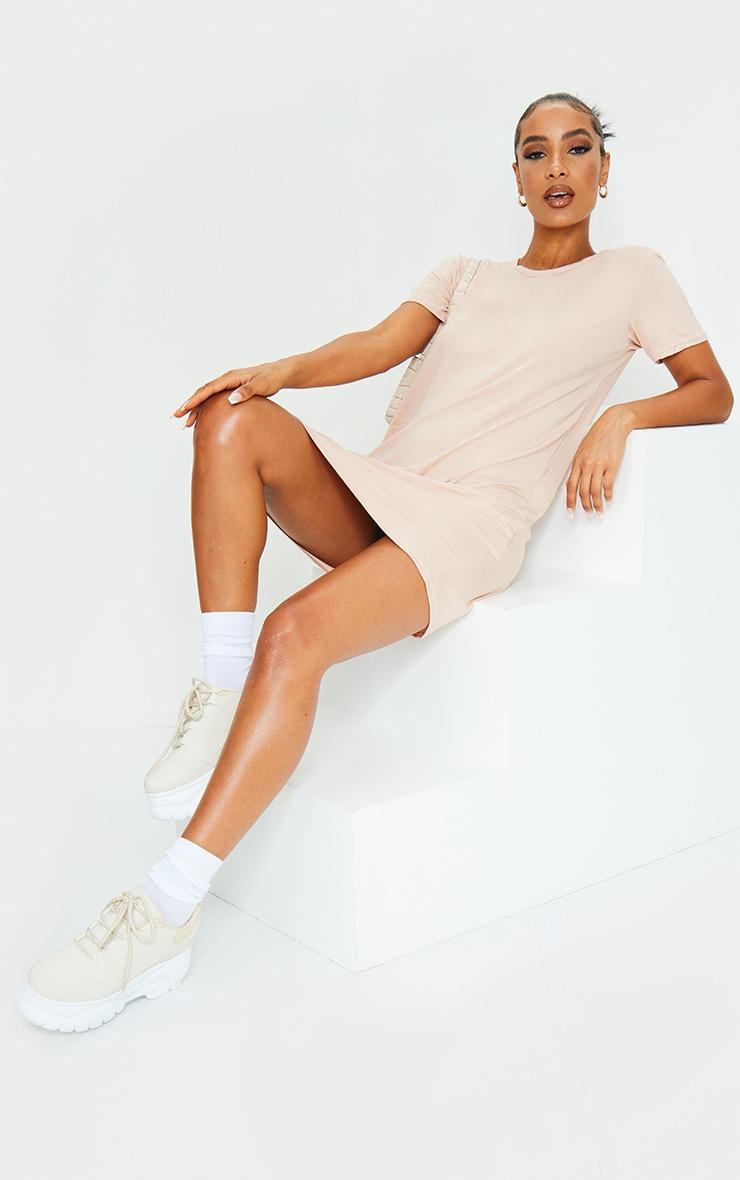 Nude Basic Short Sleeve Round Neck T Shirt Dress 3