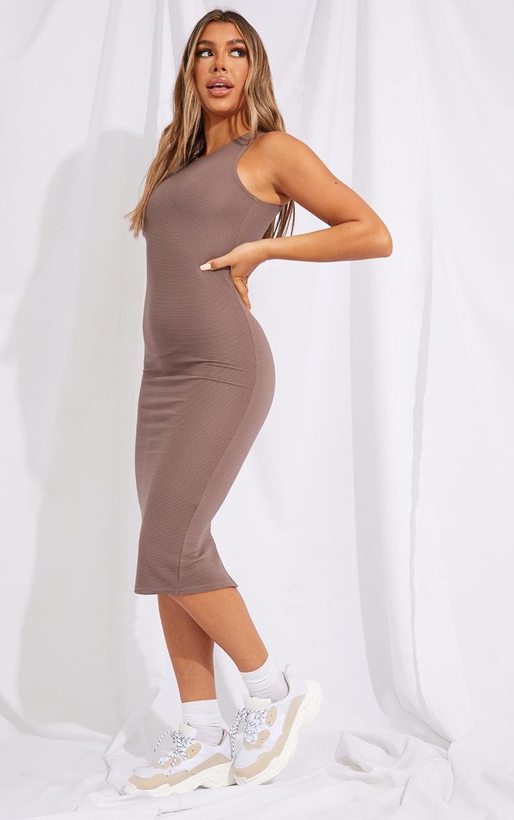 Mocha Textured Rib Sleeveless Scoop Neck Midi Dress image 3