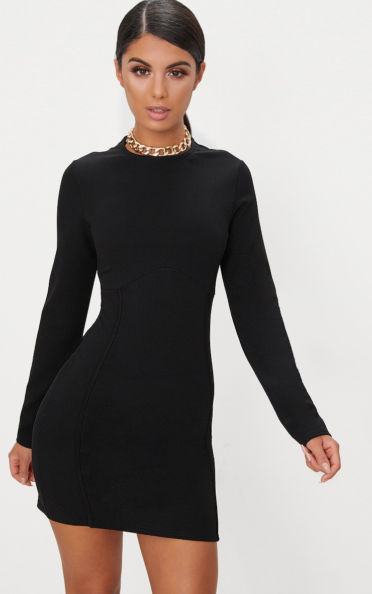 Black Long Sleeve Panelled Bodycon Dress  2