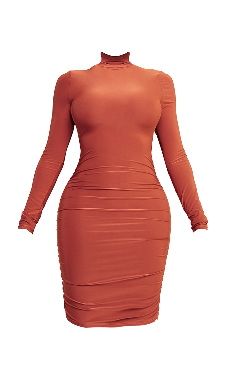 Shape Rust Slinky High Neck Backless Ruched Bodycon Dress 5