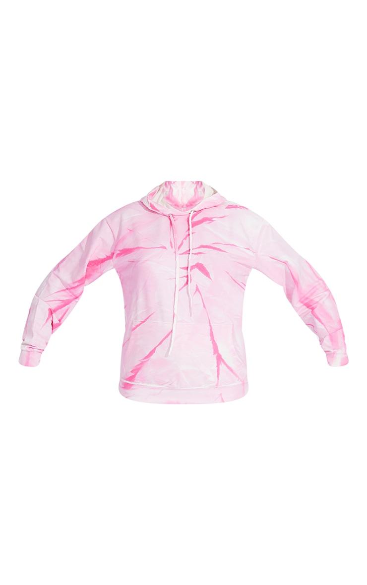 Hot Pink Tie Dye Oversized Hoodie 5
