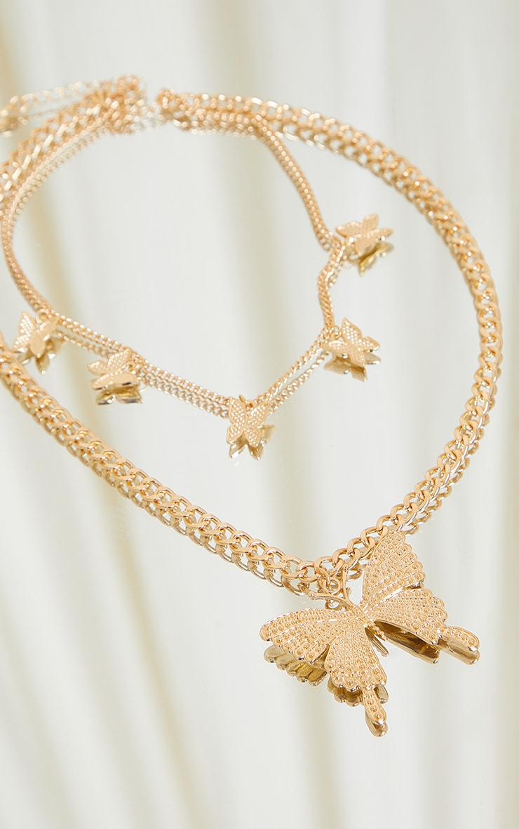 Gold Chain Double Pave Butterfly Necklace 3