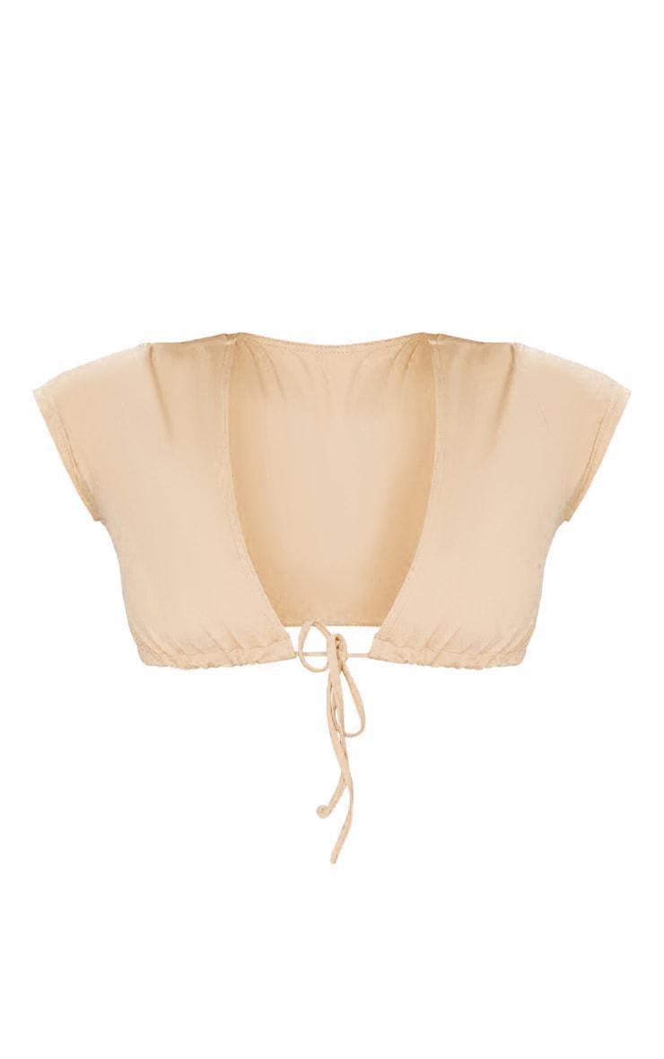 Recycled Nude Fabric Short Sleeve Tie Front Bikini Top 5