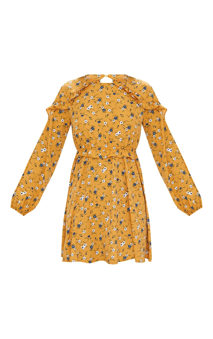 Mustard Floral Frill Long Sleeve Shift Dress  3