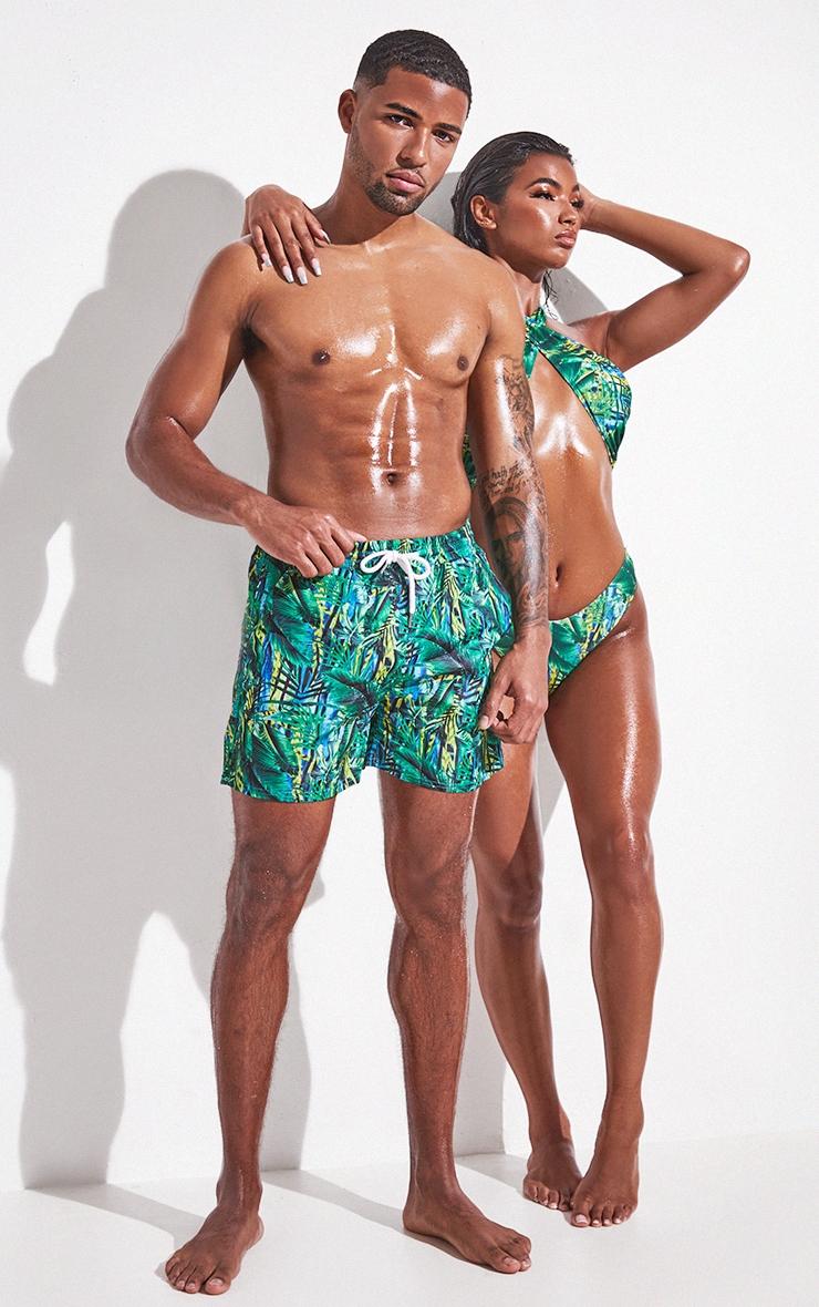Green Tropical Printed Mid Length Swim Shorts 1