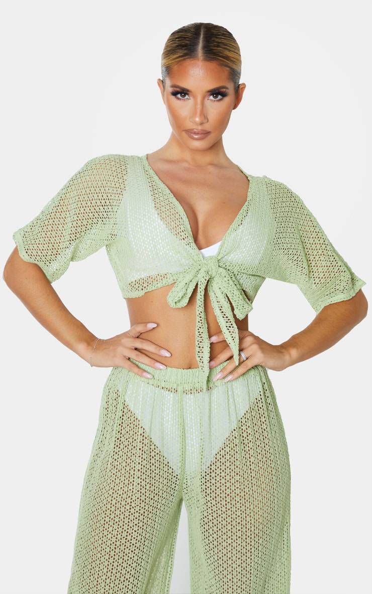 Sage Green Crochet Tie Front Beach Top 1