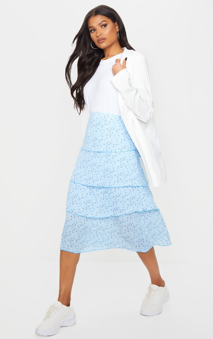 Baby Blue Ditsy Floral Tiered Midi Skirt 1