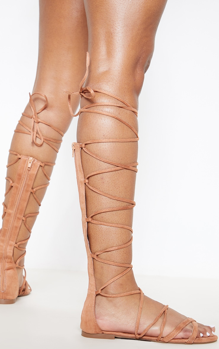 Nude Knee High Strappy Gladiator Sandal 1