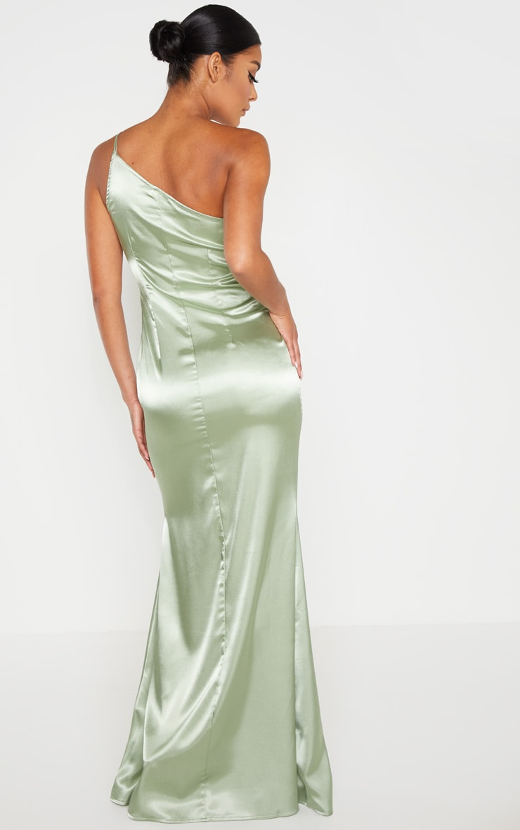 Sage Green Satin One Shoulder Maxi Dress 2