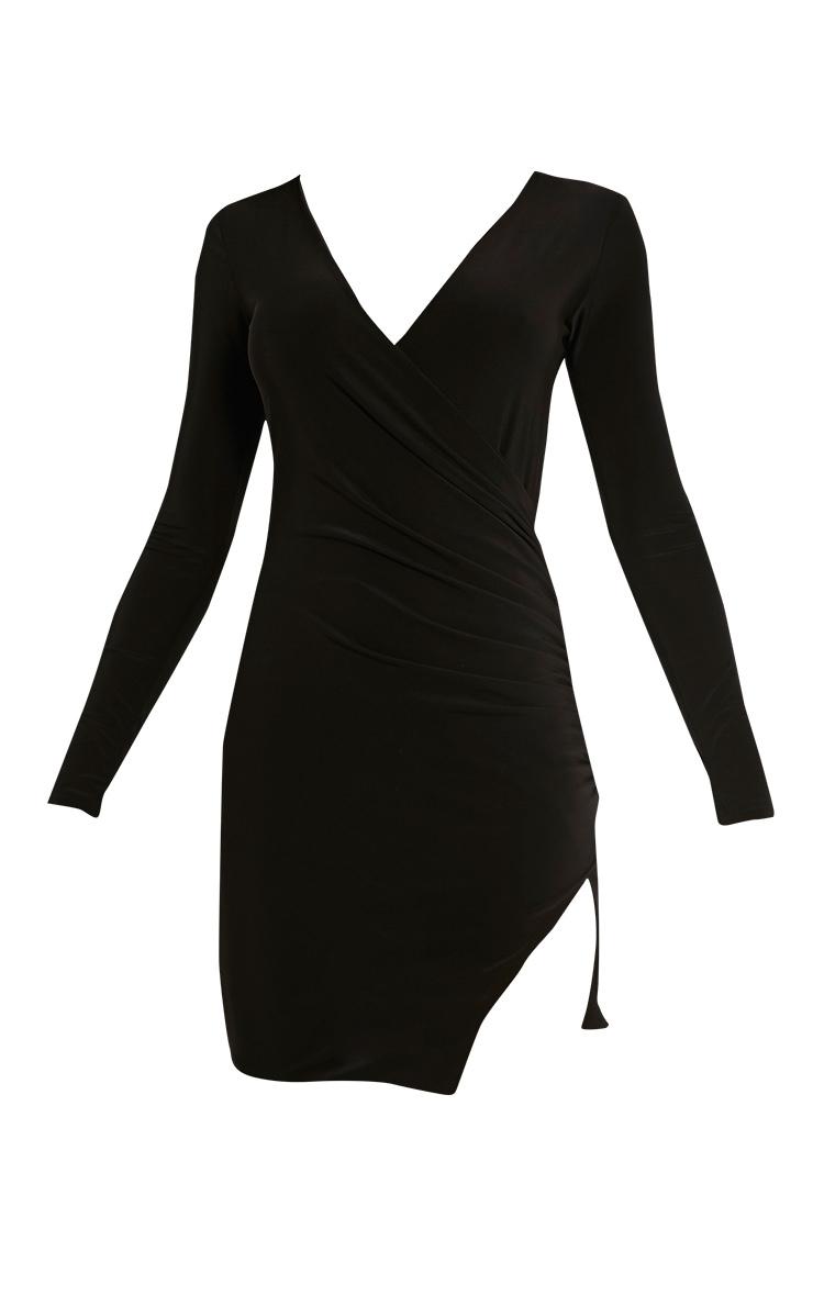 Iona Black Slinky Wrap Over Bodycon Dress 3