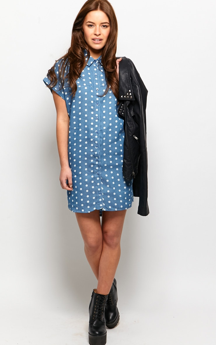 Trixie Blue Polka Dot Denim Shirt Dress 3