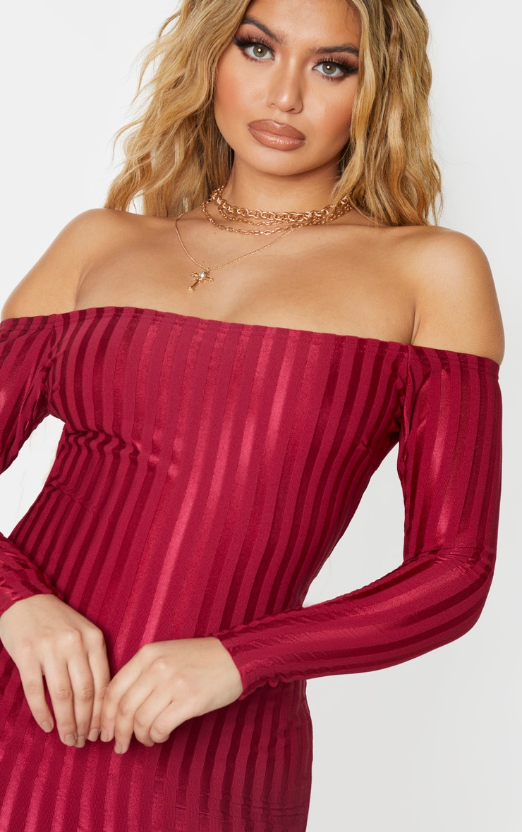 Burgundy Satin Stripe Detail Bardot Bodycon Dress 5