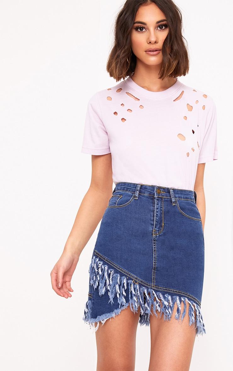 Mid Wash Fringe Hem Denim Mini Skirt 1