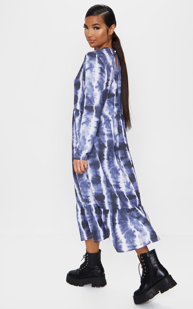 Navy Tie Dye Print Frill Hem Smock Midi Dress 2