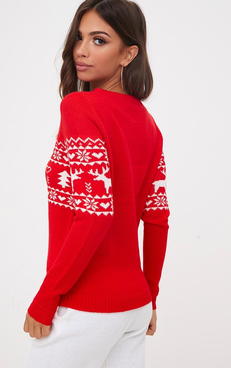 Red Fairisle Reindeer Christmas Jumper 2