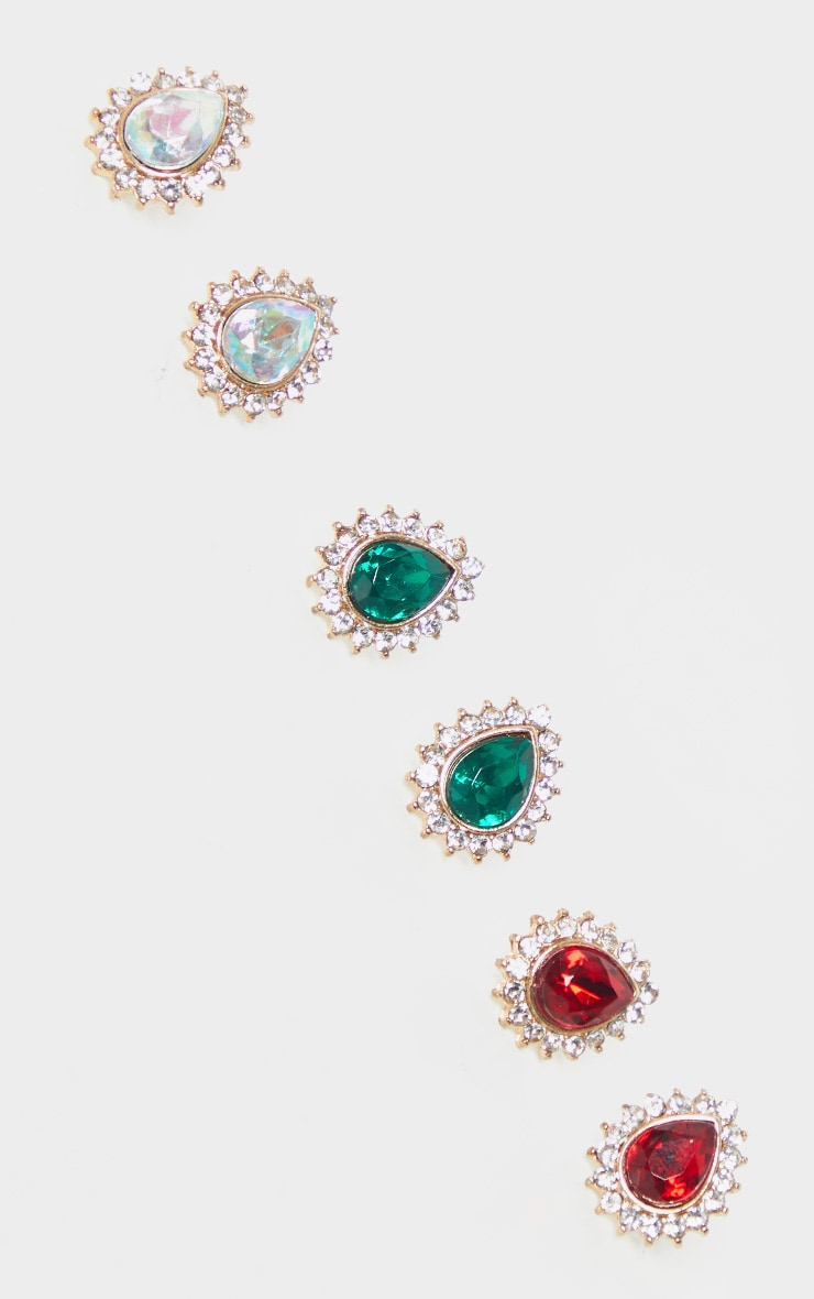 Gold Multi Gemstone Teardrop Stud Earring Three Pack   by Prettylittlething