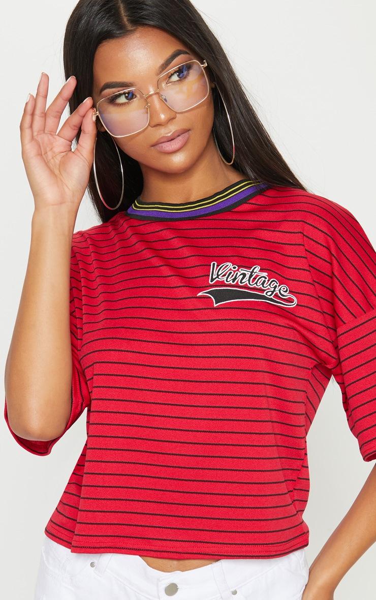 Red Vintage Slogan Pinstripe Boxy T Shirt 5