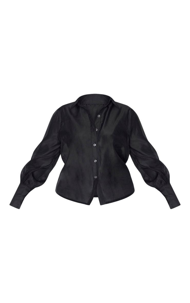 Plus Black Sheer Woven Oversized Shirt 3