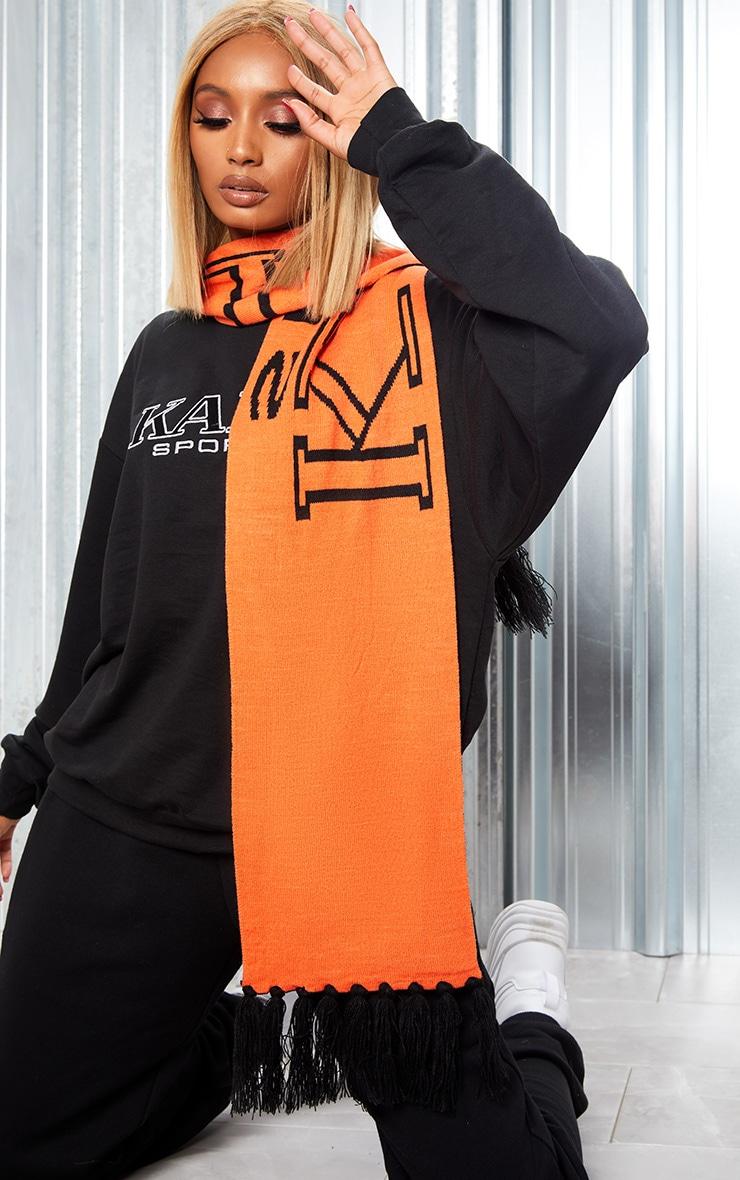 KARL KANI Orange Sport Tassel Trim Scarf 2