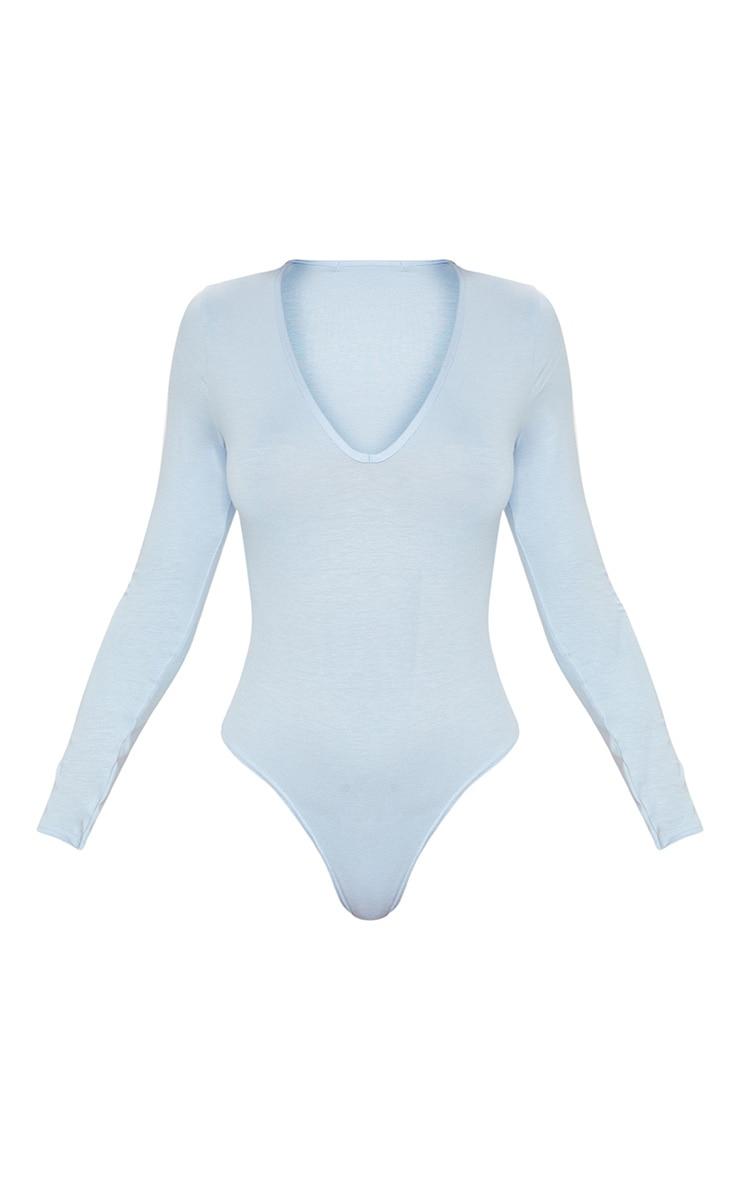 Basic Baby Blue V Neck Long Sleeve Bodysuit 3