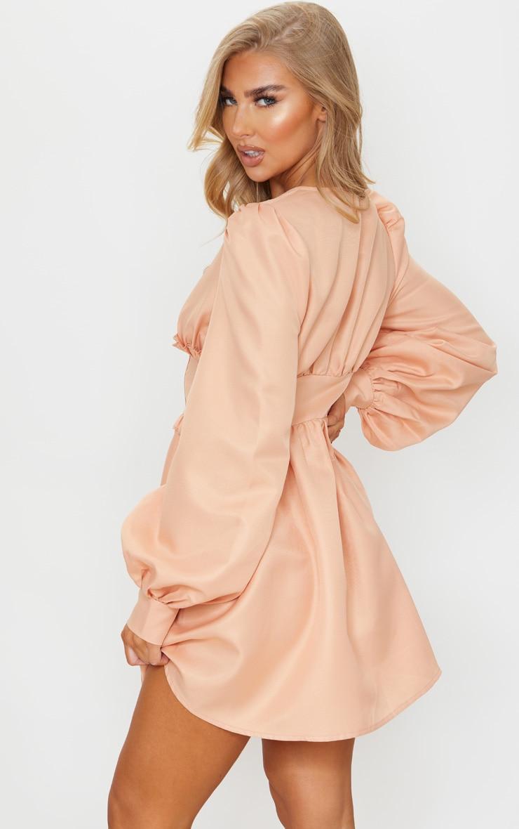 Peach Woven Button Detail Puff Sleeve Skater Dress 2