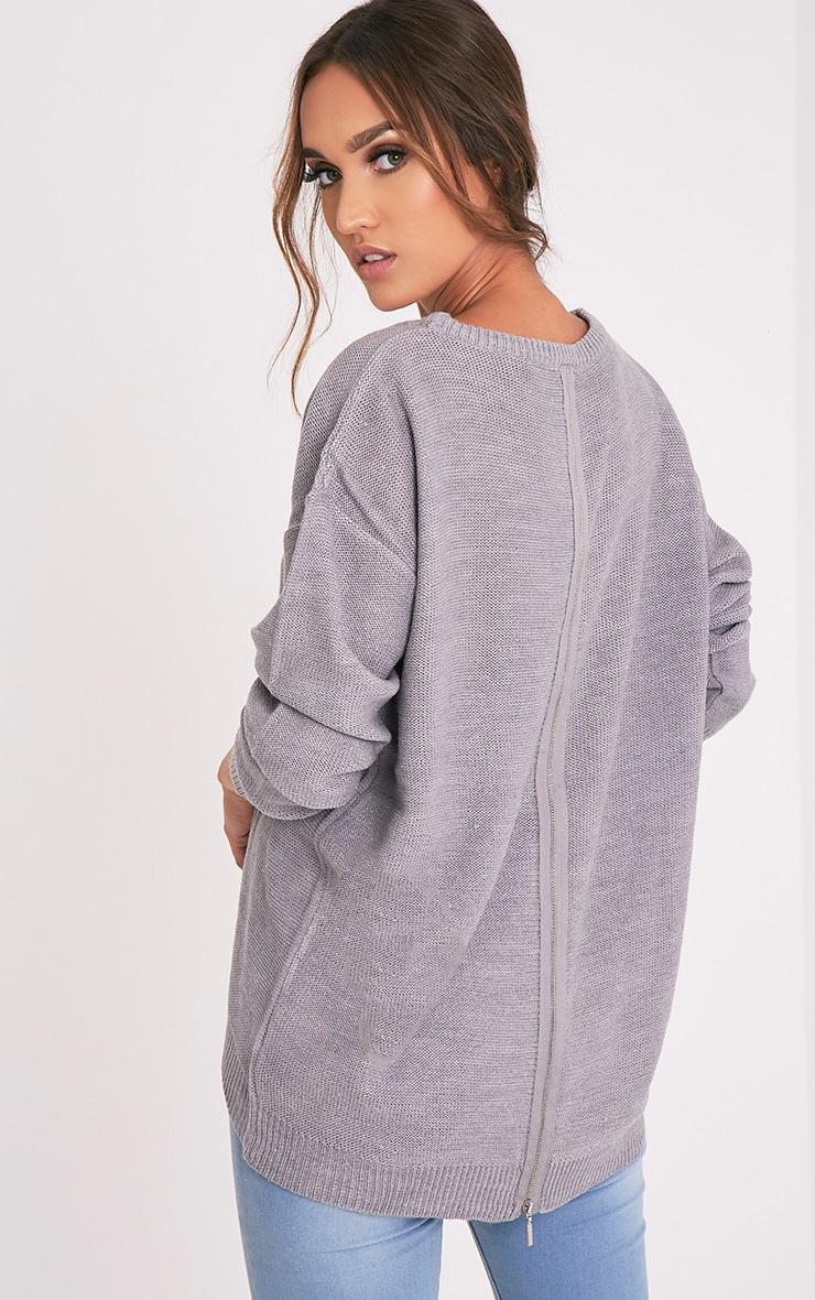 Trisha pull gris tricoté à fermeture Éclair au dos 1
