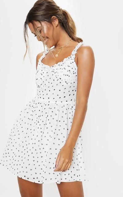 1c21352550b White Heart Print Strappy Skater Dress