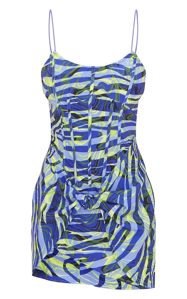 Blue Zebra Print Strappy Corset Detail Knotted Skirt Bodycon Dress 5