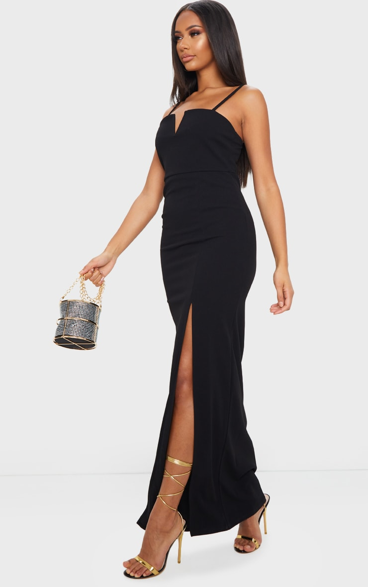 Black V Bar Strappy Maxi Dress 3