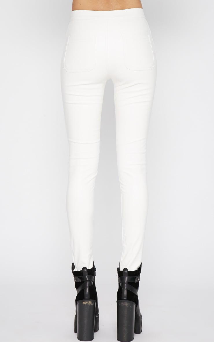 Lina White Skinny Leather Trouser 2