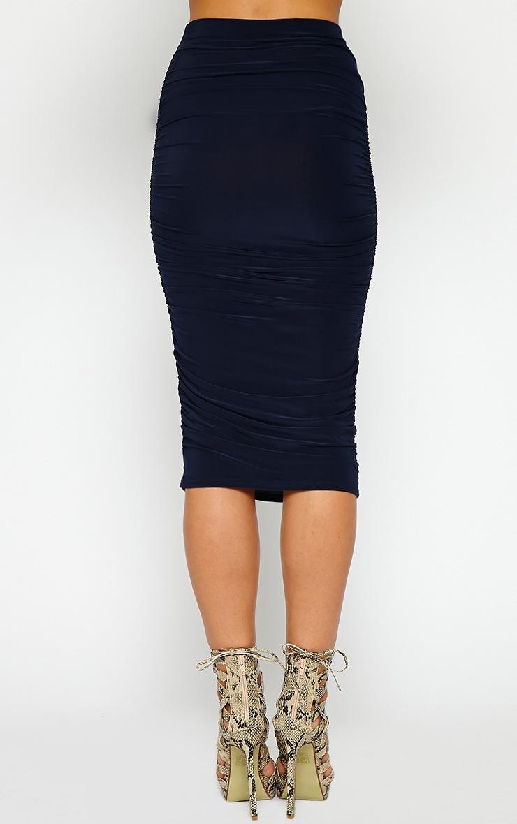 Saylor Navy Slinky Gathered Midi Skirt 3