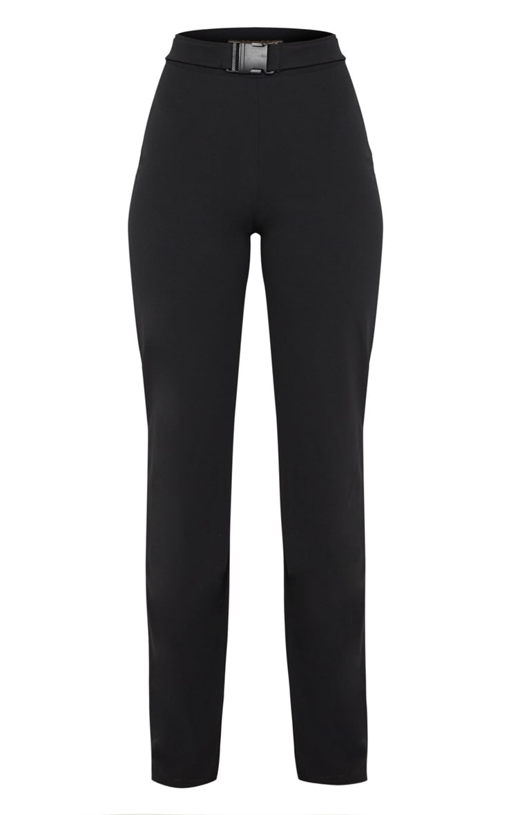 Black Belted Waist Straight Leg Pants 3
