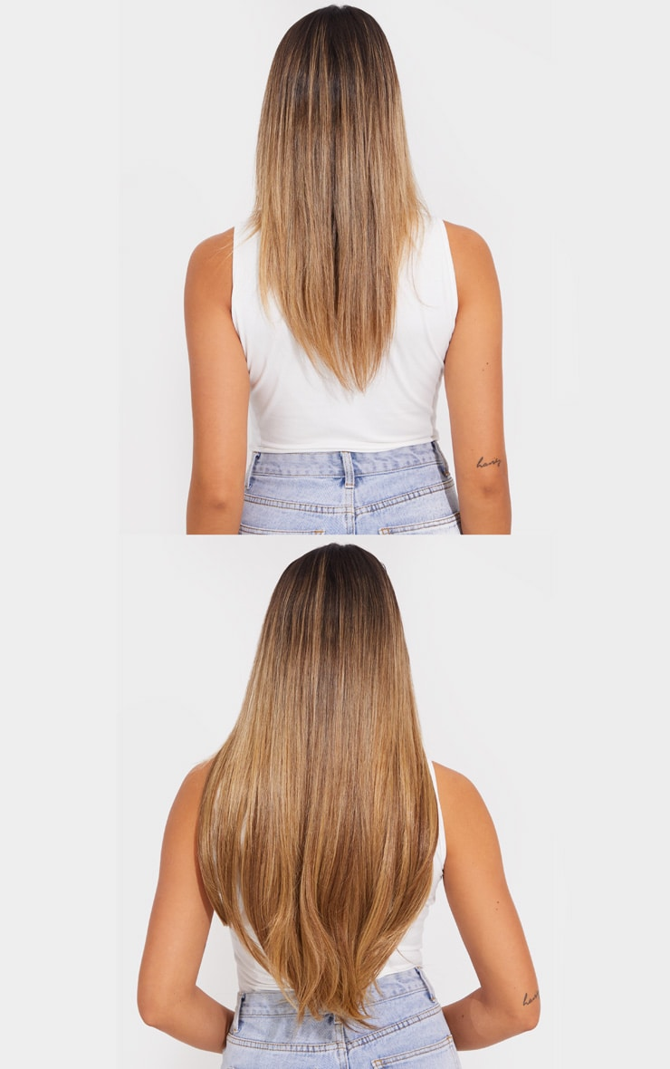 LullaBellz Super Thick 22'5 Piece Straight Clip In Hair Extensions Mellow Brown 2