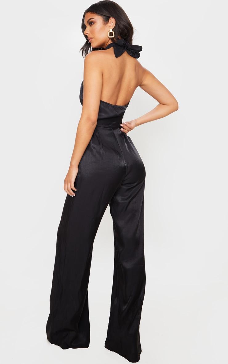 Black Knot Halterneck Shimmer Jumpsuit 2