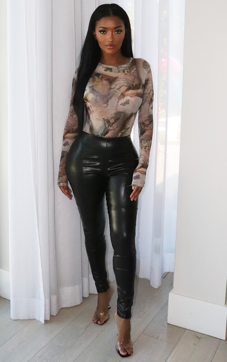 Shape Nude Renaissance Printed Mesh Long Sleeved Bodysuit 3