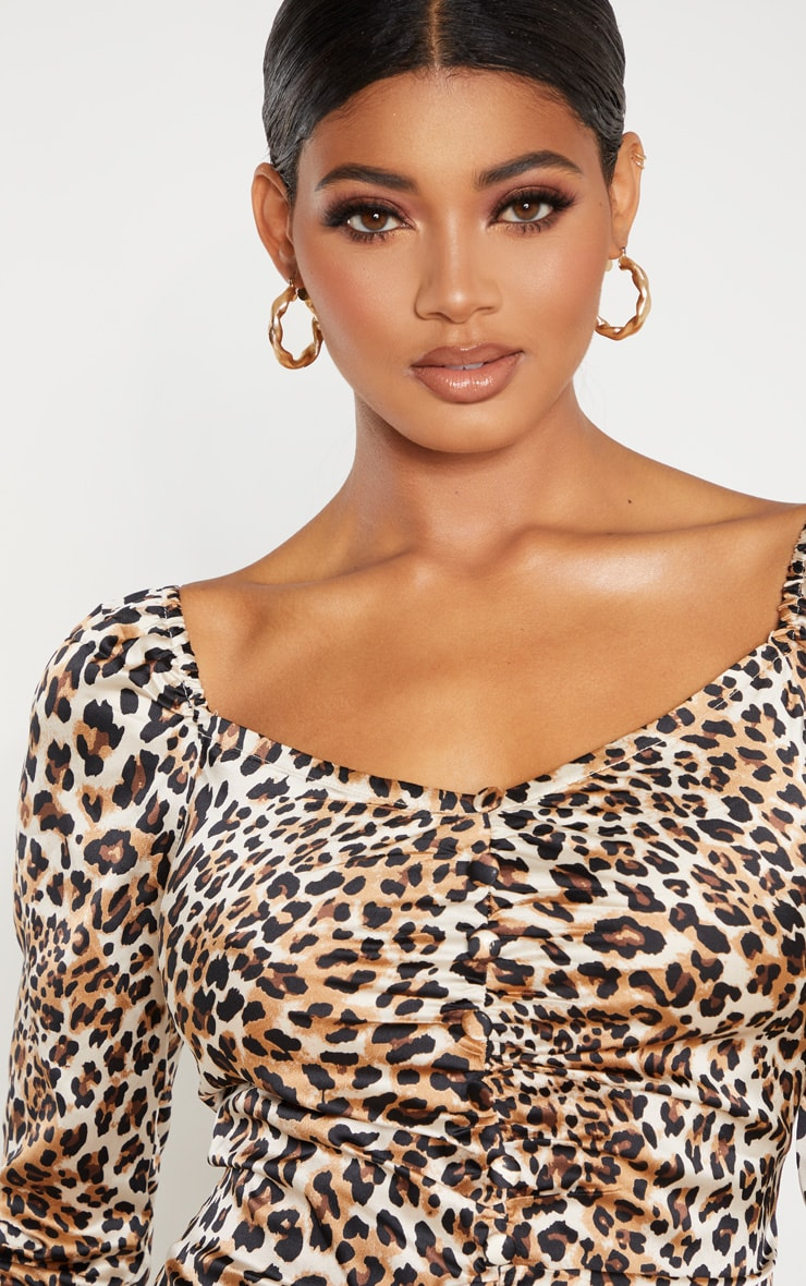 Tall Leopard Ruched Button Front Satin Dress 5