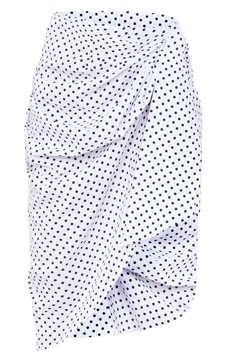 White Polka Dot Extreme Ruched Wrap Over Midi Skirt 5