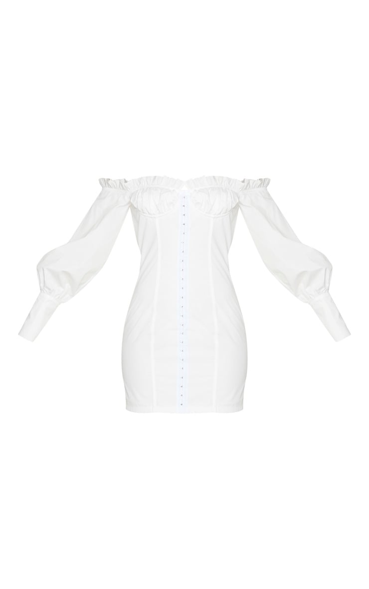 White Bardot Ruched Cup Hook & Eye Bodycon Dress 5