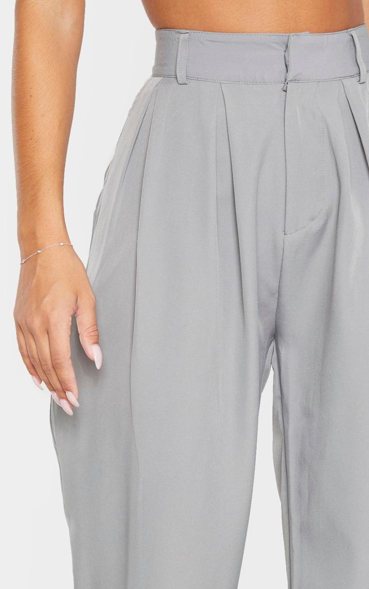 Grey Woven High Waisted Cigarette Leg Pants 5