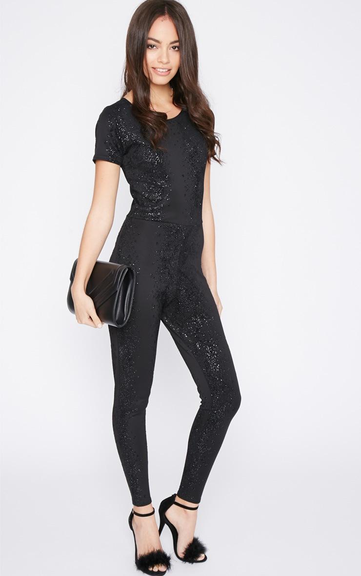 Una Black Glitter Snake Print Jumpsuit  5