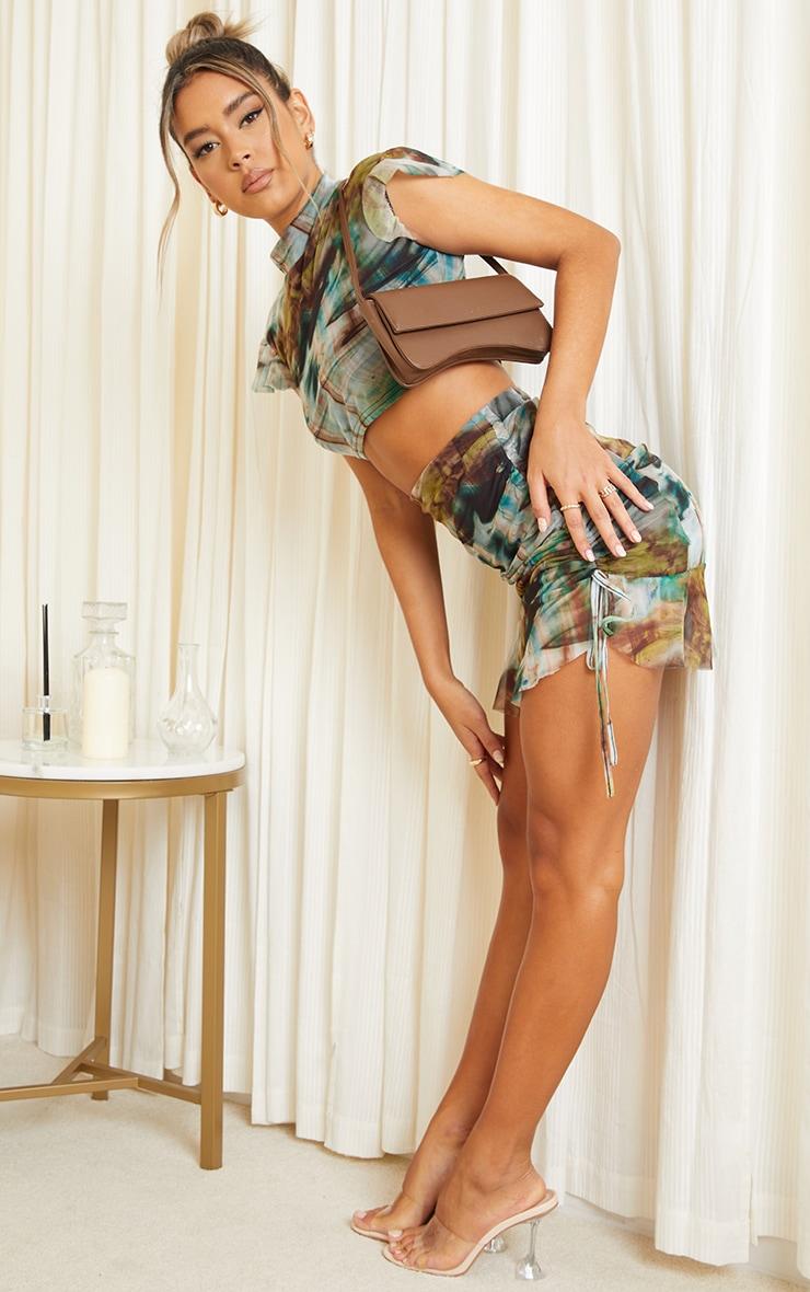 Green Print Mesh Ruched Tie Side Frill Hem Mini Skirt 1