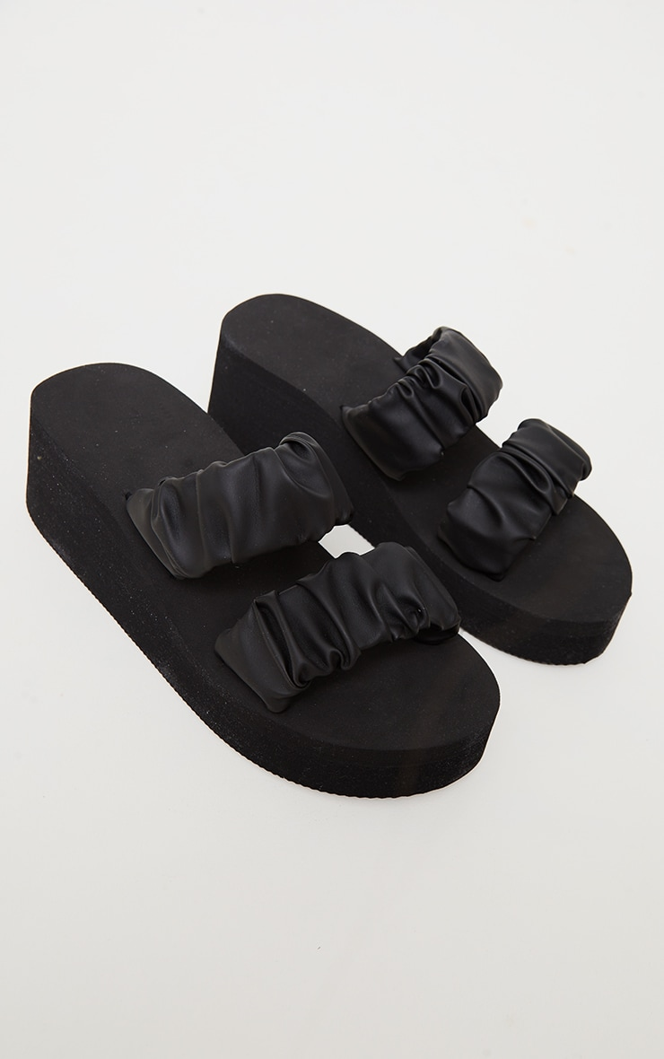 Black Ruffle Twin Strap Mule Wedges Sandals 3