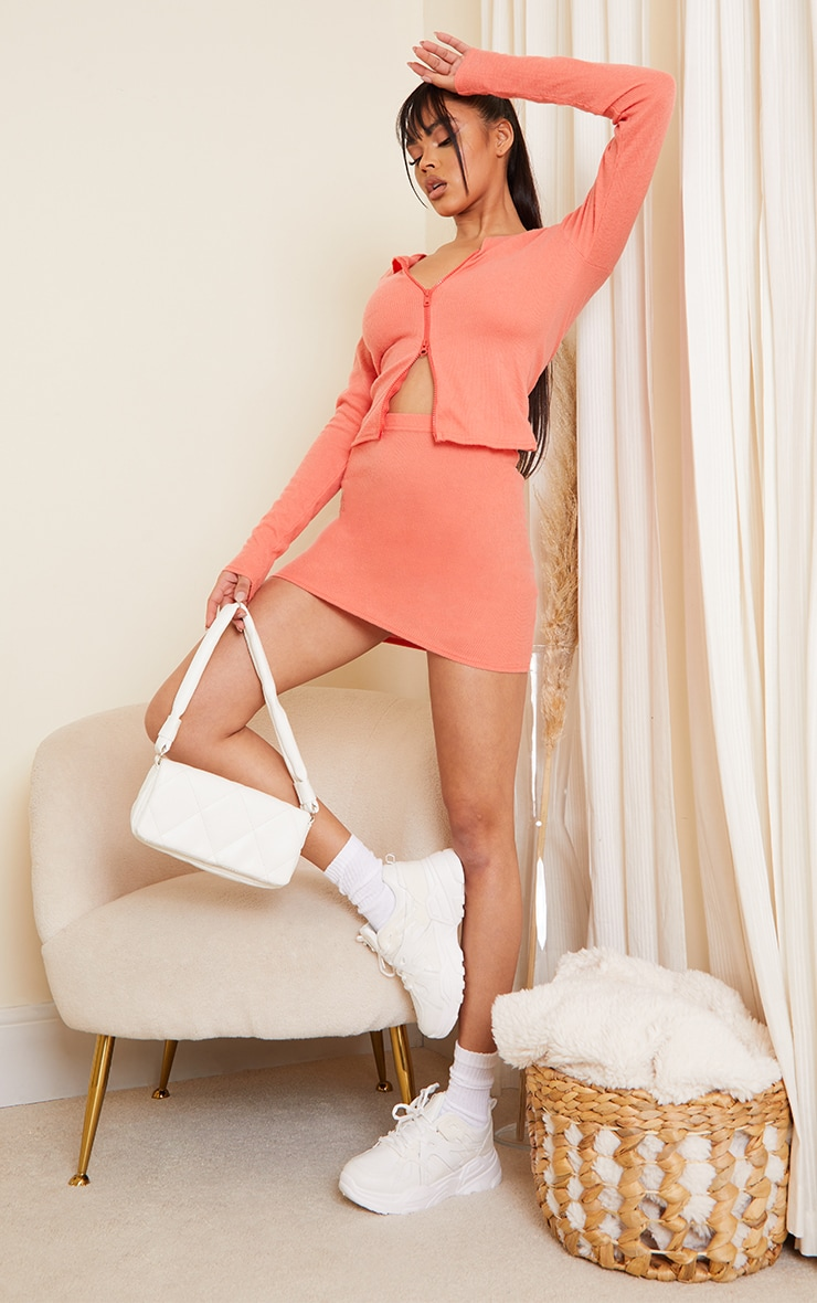 Dark Peach Soft Brushed Rib Mini Skirt 1