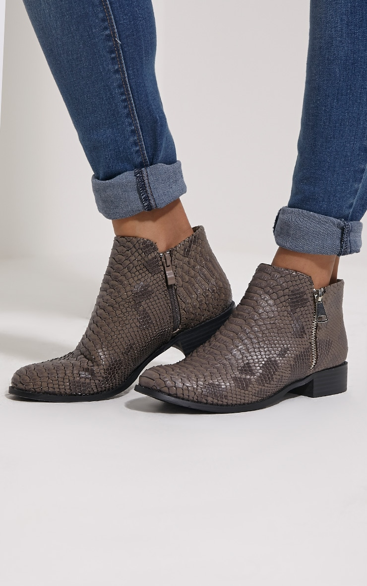 Grey Croc Effect Low Ankle Boots 1