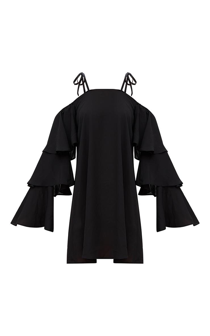 Black Triple Sleeve Shift Dress  3