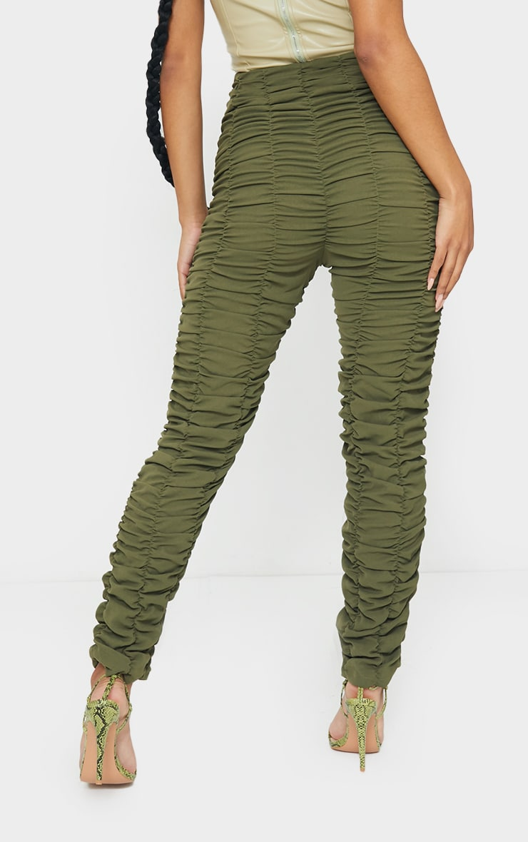 Khaki Ruched Leg Woven Skinny Trousers 3