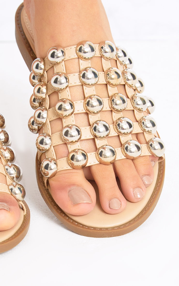 Nude Large Studded Slides 4