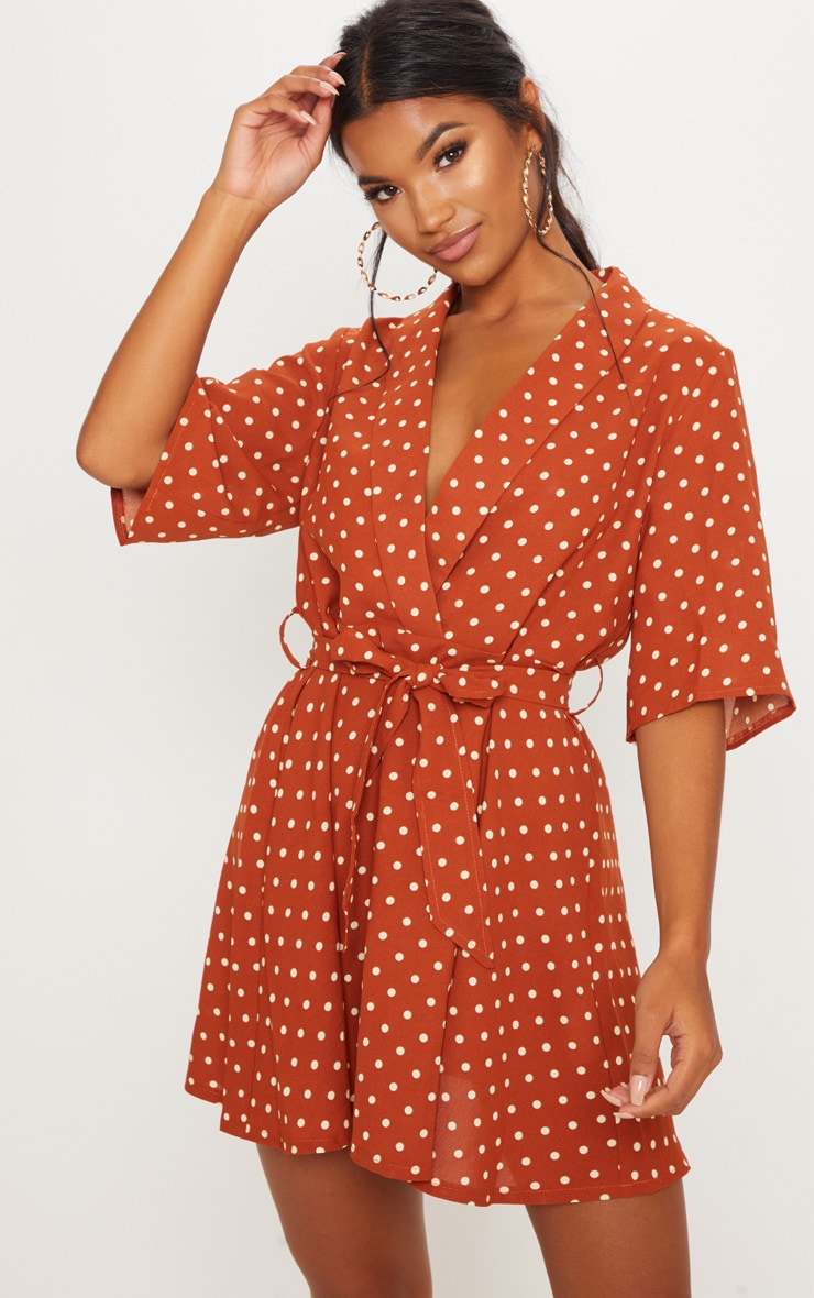 Terracotta Polka Dot Tea Dress